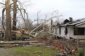 Damage caused by a tornado is seen in a neighborhood in Birmingham, Alabama, December 26, 2015.  REUTERS/Marvin Gentry