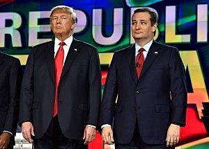 Republican U.S. presidential candidates businessman Donald Trump (L) and Senator Ted Cruz (R) pose together before the start of the Republican presidential debate in Las Vegas, Nevada December 15, 2015. REUTERS/David Becker