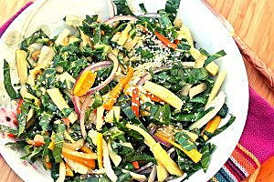 Collard Green and Roasted Root Vegetable Slaw. Credit: Copyright 2015 Rinku Bhattacharya