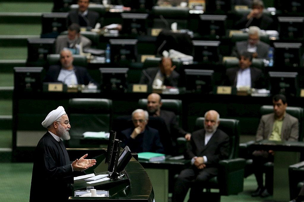 Iranian President Hassan Rouhani speaks during a session at the Iranian parliament to present the draft budget for the next Iranian fiscal year in Tehran, January 17, 2016. REUTERS/President.ir/Handout