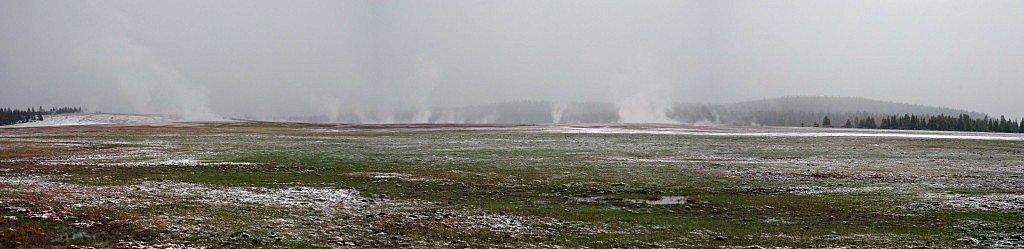 Snow retreats from Geyser Basin in Yellowstone National Park during a drab spring day. (Photo by Martin Kidston)