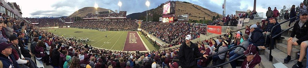 A full house packs Washington-Grizzly Stadium at the University of Montana for a home football game in 2015. (Photo by Martin Kidston)