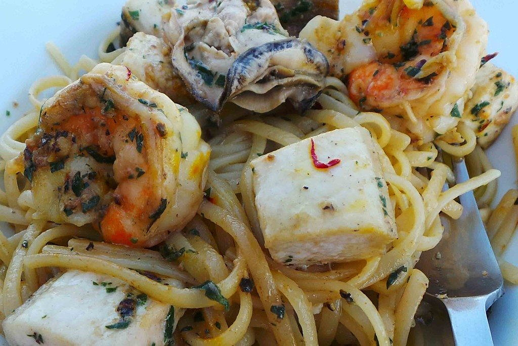 Linguine with swordfish, shrimp, and oysters. Credit: Copyright 2016 Clifford A. Wright