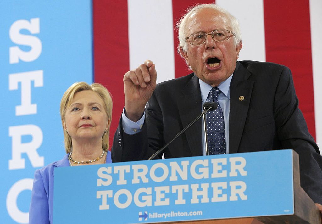 U.S. Sen. Bernie Sanders endorses Democratic U.S.  presidential candidate Hillary Clinton during a campaign rally in Portsmouth, New Hampshire, U.S., July 12, 2016. REUTERS/Brian Snyder