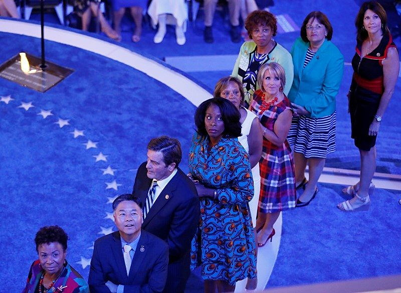 Congressional candidates running for office and being supported by the Democratic Congressional Campaign Committee  at the Democratic National Convention in Philadelphia.   REUTERS/Rick Wilking