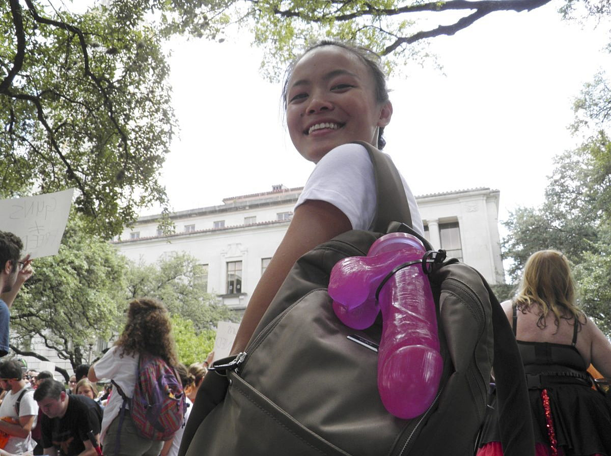 "Jessica Jin, leader of the protests called ""Cocks not Glocks"", is seen at a protest against a state law that allows for guns in classrooms at college campuses, in Austin, Texas, U.S. August 24, 2016. , in Austin, Texas, U.S. August 24, 2016.  REUTERS/Jon Herskovitz"