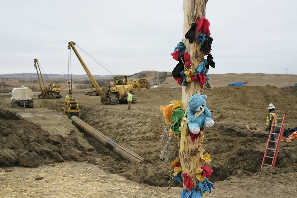 A log adorned with colorful decorations remains at a Dakota Access Pipeline protest encampment as construction work continues on the pipeline near the town of Cannon Ball, North Dakota, U.S., October 30, 2016. REUTERS/Josh Morgan