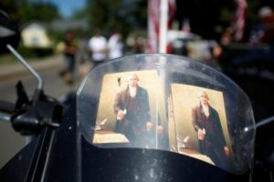 Copies of U.S. Constitution are seen on a motorcycle before the Josephine County Oath Keepers, which later disbanded and became the Liberty Watch of Josephine County, participate in a Memorial Day parade in Grants Pass, Oregon, U.S. May 28, 2016. REUTERS/Jim Urquhart