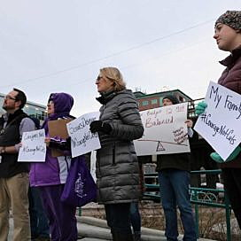 Missoula demonstrators decry cuts to education, senior services