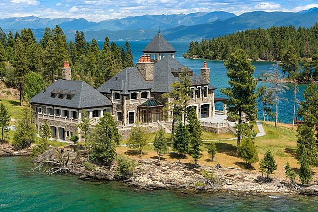 The Shelter Island Estate On Flathead Lake, Listed For $22.7 Million,  Includes 45 Foot Ceilings And Three Floors Accessed By An Elevator.