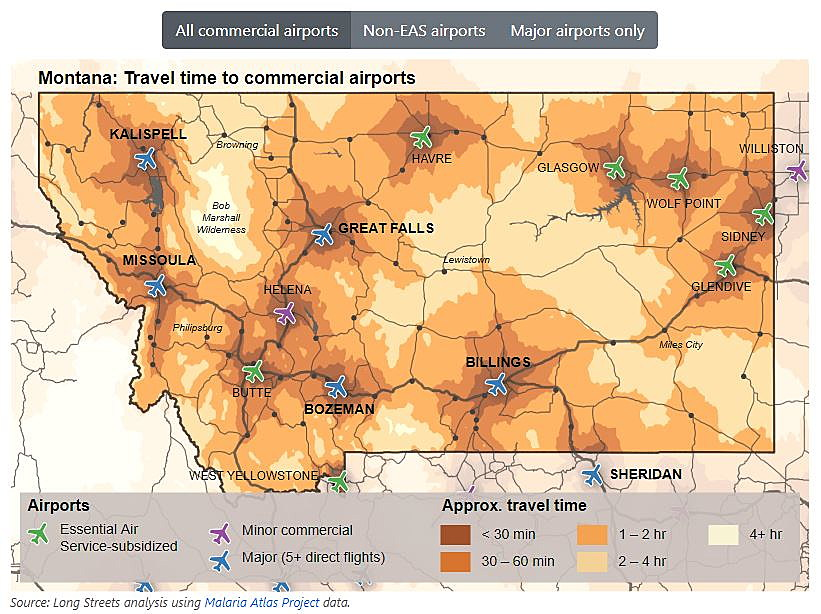 map of airports in montana Airport Travel Distances Hinder Economic Development In Rural map of airports in montana